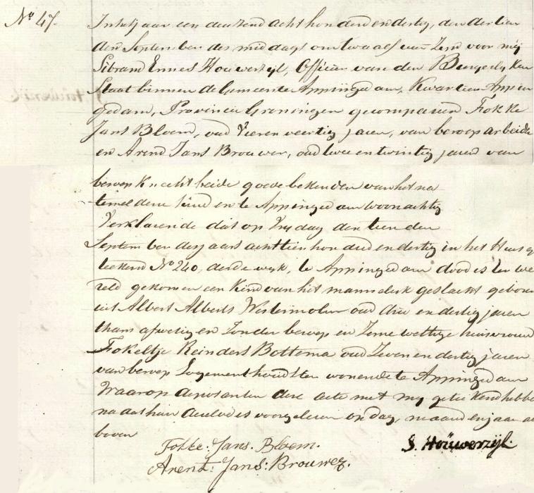 doodgeboren kind 1830